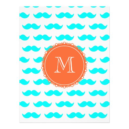 Aqua Blue Mustache Pattern, Coral White Monogram Custom Flyer