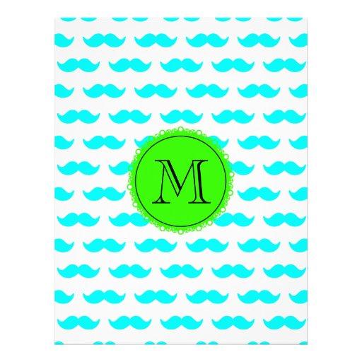 Aqua Blue Mustache Pattern, Green Black Monogram Full Color Flyer