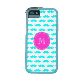 Aqua Blue Mustache Pattern, Hot Pink Monogram Case For iPhone 5