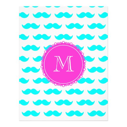 Aqua Blue Mustache Pattern, Hot Pink Monogram Personalized Flyer