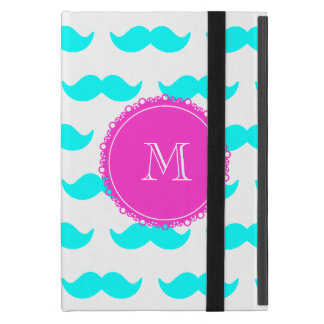 Aqua Blue Mustache Pattern, Hot Pink Monogram iPad Mini Case