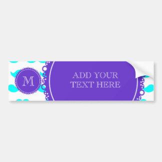 Aqua Blue Mustache Pattern, Purple White Monogram Bumper Sticker