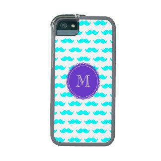 Aqua Blue Mustache Pattern, Purple White Monogram Cover For iPhone 5/5S