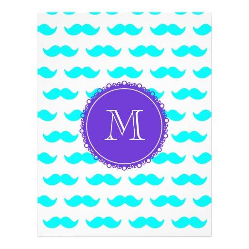 Aqua Blue Mustache Pattern, Purple White Monogram Flyer