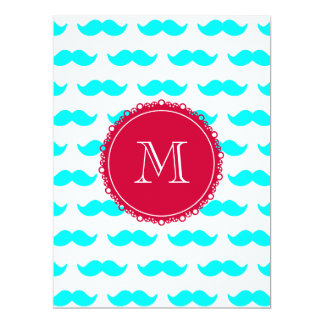 "Aqua Blue Mustache Pattern, Red White Monogram 6.5"" X 8.75"" Invitation Card"