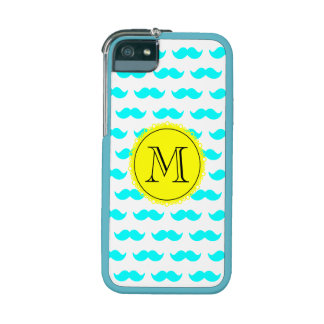 Aqua Blue Mustache Pattern, Yellow Black Monogram iPhone 5 Cover