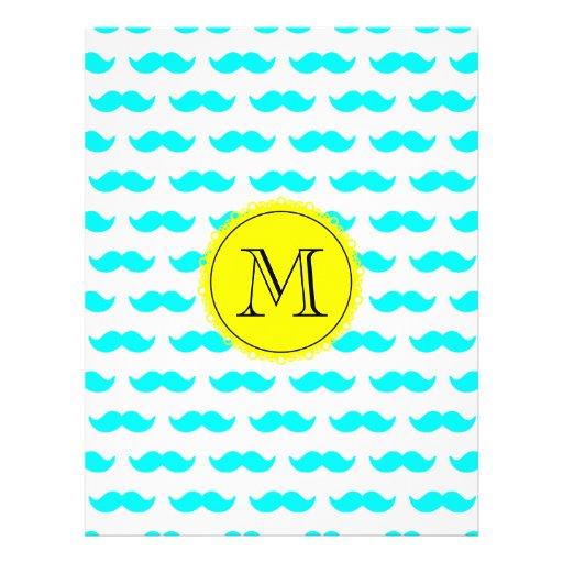 Aqua Blue Mustache Pattern, Yellow Black Monogram Full Color Flyer