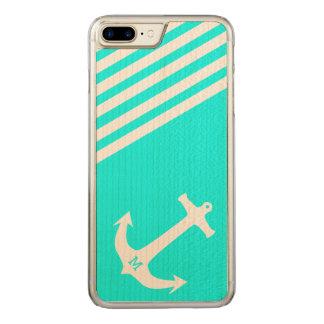 Aqua Blue Nautical Anchor with Monogram Carved iPhone 8 Plus/7 Plus Case