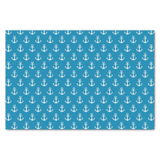 Aqua Blue Nautical Anchors Tissue Paper