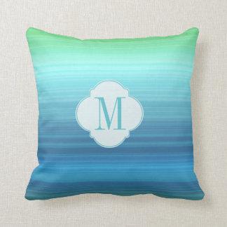 Aqua Blue, navy and green stripe Throw Pillow