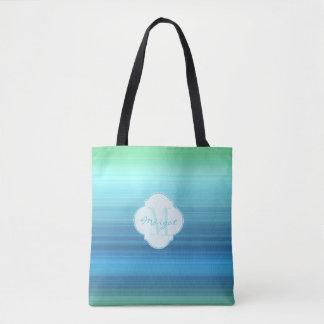 Aqua blue, navy and green stripes tote bag