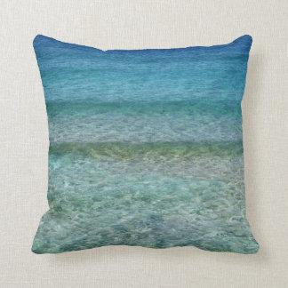 "Aqua Blue Ocean Abstract Throw Pillow 16"" x 16"""