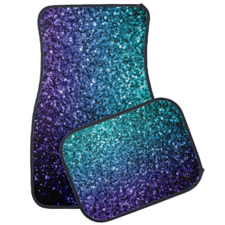 Aqua Blue Ombre glitter sparkles Car Mat
