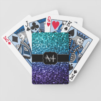 Aqua blue Ombre glitter sparkles Monogram Bicycle Playing Cards