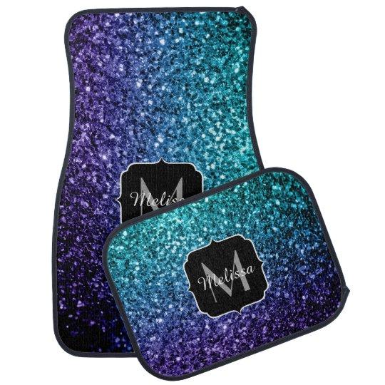 Aqua blue Ombre glitter sparkles Monogram Car Mat