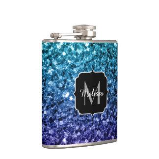 Aqua blue Ombre glitter sparkles Monogram Hip Flask