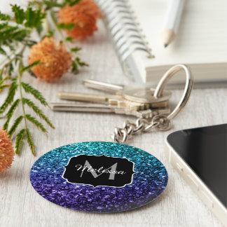 Aqua blue Ombre glitter sparkles Monogram Key Ring