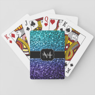 Aqua blue Ombre glitter sparkles Monogram Playing Cards