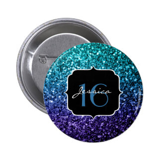 Aqua blue Ombre glitter sparkles Sweet 16 6 Cm Round Badge