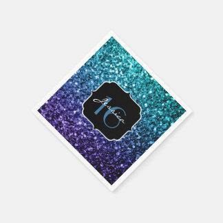 Aqua blue Ombre glitter sparkles Sweet 16 Disposable Serviette