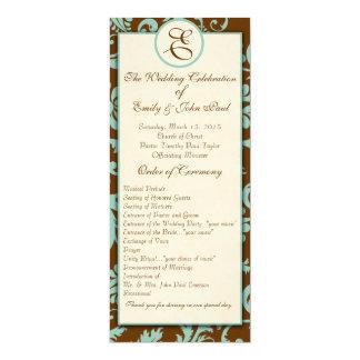 Aqua Blue on Brown Damask  Wedding Program 10 Cm X 24 Cm Invitation Card