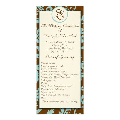 Aqua Blue on Brown Damask  Wedding Program Custom Invites