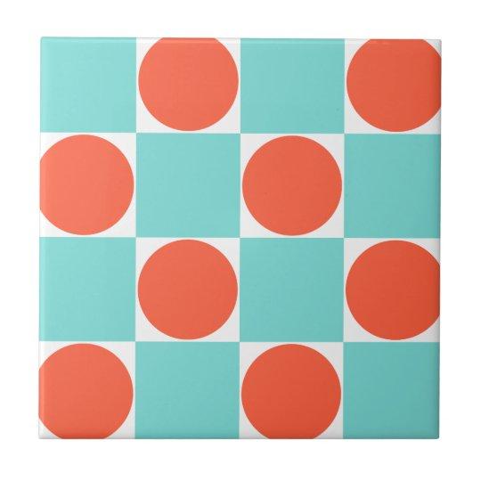 Aqua Blue & Orange Dots Retro Chequered Pattern