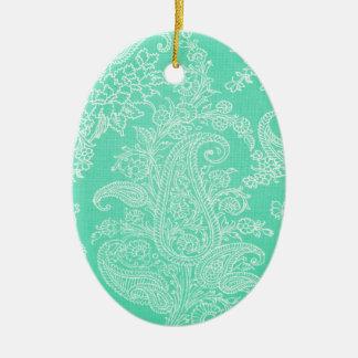 Aqua blue paisley tree flower cloth pattern ceramic oval decoration