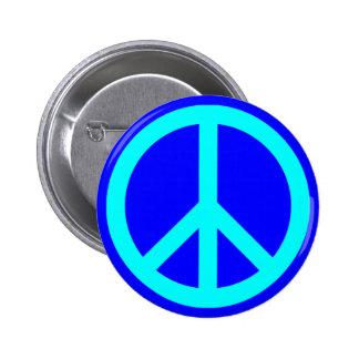 Aqua Blue Peace Symbol 6 Cm Round Badge