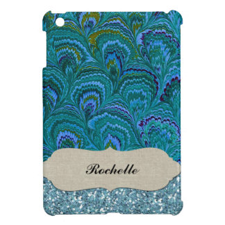 Aqua Blue Peacock Feather Glitter Personalized Cover For The iPad Mini