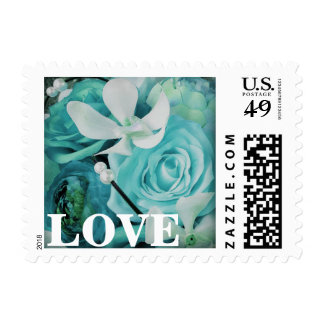 Aqua Blue Peony Rose Orchid Love Postage Stamps