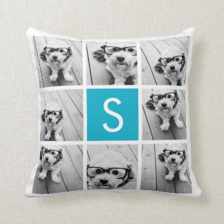Aqua Blue Photo Collage Custom Monogram Cushion