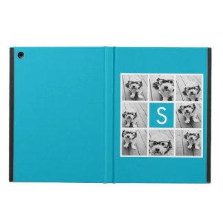 Aqua Blue Photo Collage Custom Monogram iPad Air Cover