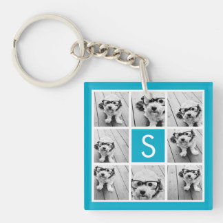 Aqua Blue Photo Collage Custom Monogram Single-Sided Square Acrylic Key Ring