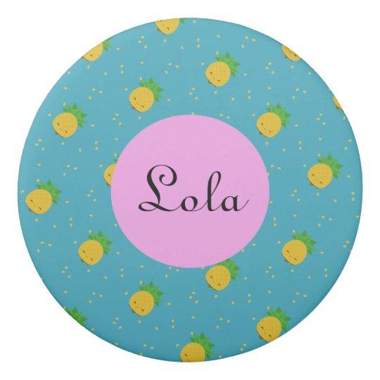 Aqua Blue pineapple print round eraser