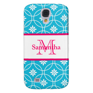 Aqua Blue Pink Monogram Geometric Pattern Galaxy S4 Case