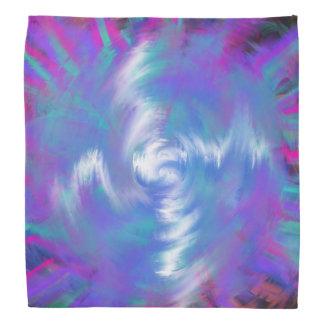 Aqua Blue Pink Spiral Star Abstract Art Design Bandana