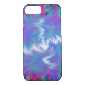 Aqua Blue Pink Spiral Star Abstract Art Design iPhone 8/7 Case