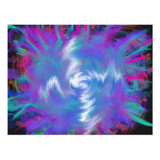 Aqua Blue Pink Spiral Star Abstract Art Design