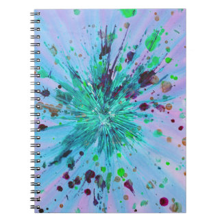 Aqua Blue Pink Star Abstract Art Acrylic Painting Notebooks