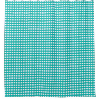 Aqua Blue Plaid Shower Curtain