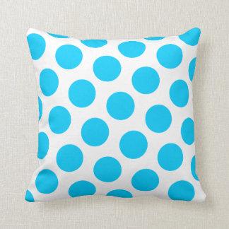 Aqua Blue Polka Dot Cushion