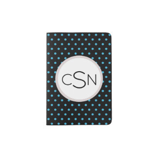 Aqua Blue Polka Dot pattern with Monogram Passport Holder