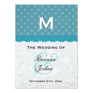 Aqua Blue Polka Dots Damask Wedding Program V01 17 Cm X 22 Cm Invitation Card