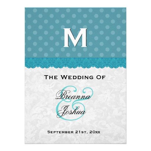 Aqua Blue Polka Dots Damask Wedding Program V01 Personalized Announcement