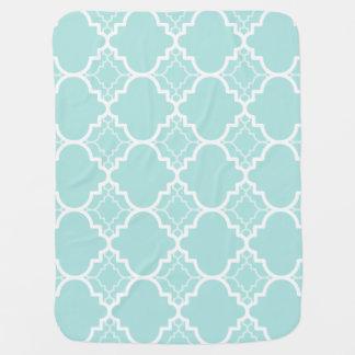 Aqua Blue Quatrefoil Geometric Pattern Baby Blanket