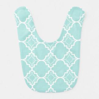 Aqua Blue Quatrefoil Geometric Pattern Bibs