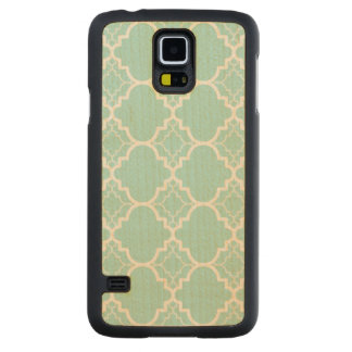 Aqua Blue Quatrefoil Geometric Pattern Carved Maple Galaxy S5 Case
