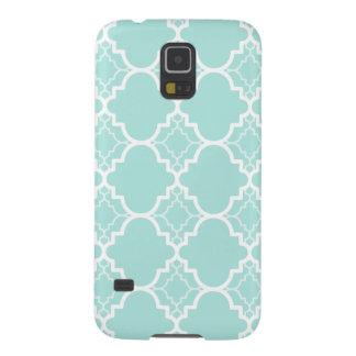 Aqua Blue Quatrefoil Geometric Pattern Galaxy S5 Case