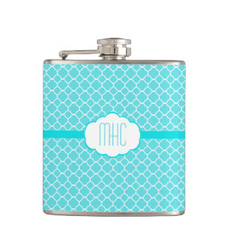 Aqua Blue Quatrefoil- Monogram Flask